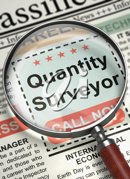 Newspaper with Jobs Quantity Surveyor. Quantity Surveyor - CloseUp View of Jobs Section Vacancy in Newspaper with Magnifier. Job Search Concept. Blurred Image. 3D Render.