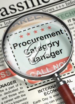 Magnifying Lens Over Newspaper with Vacancy of Procurement Category Manager. Procurement Category Manager - Close View Of A Classifieds Through Magnifier. Hiring Concept. Blurred Image. 3D.