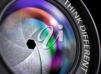 Lens of Reflex Camera with Think Different Concept, Closeup. Lens Flare Effect. Think Different Written on a Camera Lens. Closeup View, Selective Focus, Lens Flare Effect. 3D Rendering.