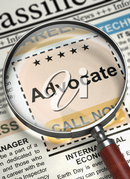 Magnifying Glass Over Newspaper with Classified Ad of Advocate. Advocate - Close Up View Of A Classifieds Through Loupe. Job Search Concept. Blurred Image with Selective focus. 3D.