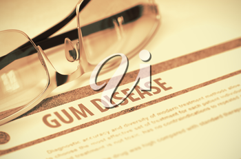 Gum Disease - Medical Concept on Red Background with Blurred Text and Composition of Glasses. 3D Rendering.