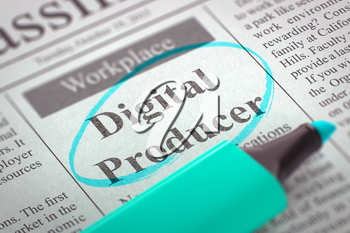 Digital Producer - Advertisements and Classifieds Ads for Vacancy in Newspaper, Circled with a Azure Highlighter. Blurred Image with Selective focus. Concept of Recruitment. 3D Rendering.