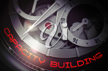 Capacity Building on the Automatic Men Watch, Chronograph Closeup. Capacity Building on Old Watch Detail, Chronograph Up Close. Business Concept with Glowing Light Effect. 3D Rendering.