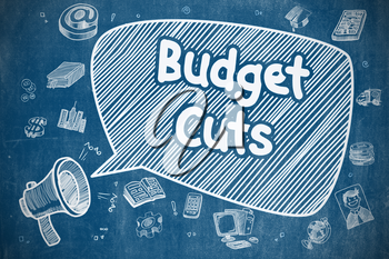 Yelling Bullhorn with Wording Budget Cuts on Speech Bubble. Doodle Illustration. Business Concept. Business Concept. Horn Speaker with Inscription Budget Cuts. Doodle Illustration on Blue Chalkboard.