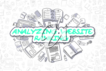 Business Illustration of Analyzing Website Ranking. Doodle Green Inscription Hand Drawn Doodle Design Elements. Analyzing Website Ranking Concept.