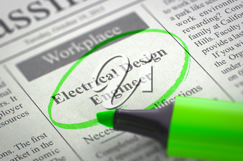 A Newspaper Column in the Classifieds with the Job Vacancy of Electrical Design Engineer, Circled with a Green Highlighter. Blurred Image. Selective focus. Hiring Concept. 3D Render.