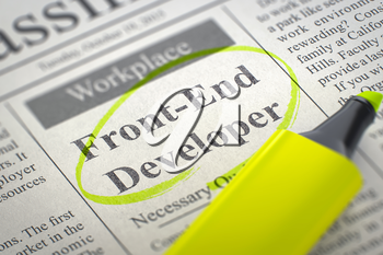 Front-End Developer - Job Vacancy in Newspaper, Circled with a Yellow Marker. Blurred Image. Selective focus. Job Search Concept. 3D Render.