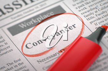 A Newspaper Column in the Classifieds with the Vacancy of Conveyancer, Circled with a Red Marker. Blurred Image. Selective focus. Concept of Recruitment. 3D.