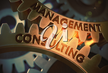 Management Consulting - Technical Design. Golden Gears with Management Consulting Concept. 3D Rendering.