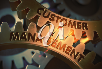 Customer Management on the Golden Cog Gears. Customer Management on the Mechanism of Golden Metallic Gears with Lens Flare. 3D Rendering.