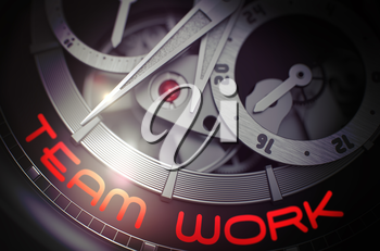 Team Work - Automatic Wrist Watch Inside Mechanism Closeup with Inscription on the Face. Team Work on the Men Pocket Watch, Chronograph Up Close. Work Concept with Glowing Light Effect. 3D Rendering.