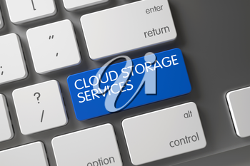 Concept of Cloud Storage Services, with Cloud Storage Services on Blue Enter Keypad on Modern Keyboard. 3D Illustration.