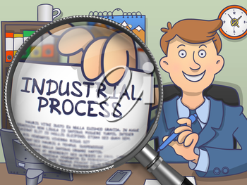 Industrial Process through Magnifier. Officeman Holding a Paper with Concept. Closeup View. Colored Doodle Style Illustration.
