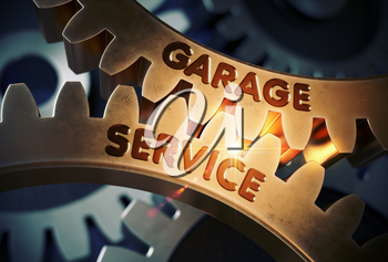 Garage Service on Mechanism of Golden Gears with Lens Flare. Garage Service on the Mechanism of Golden Cogwheels with Glow Effect. 3D Rendering.