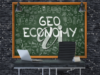 Green Chalkboard on the Dark Brick Wall in the Interior of a Modern Office with Hand Drawn Geo Economy. Business Concept with Doodle Style Elements. 3D.
