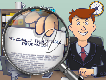 Personally Identifiable Information through Magnifier. Businessman Shows Text on Paper. Closeup View. Multicolor Modern Line Illustration in Doodle Style.