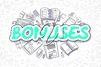 Green Text - Bonuses. Business Concept with Cartoon Icons. Bonuses - Hand Drawn Illustration for Web Banners and Printed Materials.