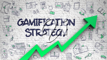 Gamification Strategy - Modern Style Illustration with Doodle Design Elements. White Wall with Gamification Strategy Inscription and Green Arrow. Increase Concept.