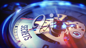 Pocket Watch Face with Secrets Text, Close Up View of Watch Mechanism. Business Concept. Film Effect. Pocket Watch Face with Secrets Phrase on it. Business Concept with Lens Flare Effect. 3D Render.
