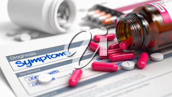 Symptoms Text in Disease Extract. Close View of Medicine Concept. Symptoms - Handwritten Diagnosis in the Anamnesis. Medicine Concept with Blister of Red Pills, CloseUp View, Selective Focus. 3D.