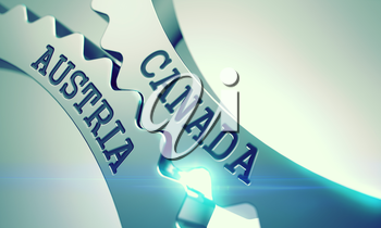 Canada Austria on Metallic Gears, Enterprises Illustration with Glowing Light Effect. Inscription Canada Austria on the Shiny Metal Cog Gears - Interaction Concept. 3D.