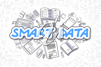 Smart Data - Sketch Business Illustration. Blue Hand Drawn Inscription Smart Data Surrounded by Stationery. Doodle Design Elements.