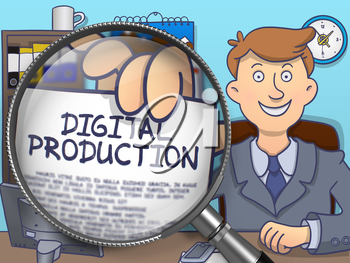 Digital Production through Magnifying Glass. Businessman Holding a Concept on Paper. Closeup View. Multicolor Modern Line Illustration in Doodle Style.