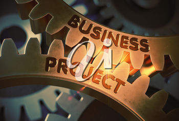 Business Project on Mechanism of Golden Cog Gears with Lens Flare. Business Project - Industrial Design. 3D Rendering.