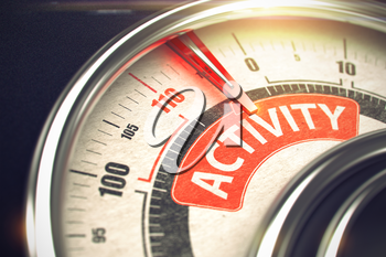 Activity Rate Conceptual Speedmeter with Message on Red Label. Business or Marketing Concept. Rev Counter with Red Needle Pointing the Text Activity on Red Label. 3D.