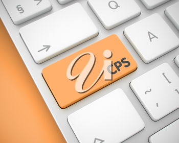 CPS - Cost Per Sale Keypad on the Modern Computer Keyboard. Online Service Concept: CPS - Cost Per Sale on Modern Computer Keyboard lying on the Orange Background. 3D Render.