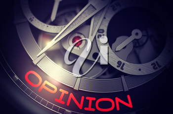 Close View Old Watch with Stainless Steel Wrist and Opinion Inscription on the Face. Opinion on Mechanical Wristwatch Detail, Chronograph Up Close. Time and Work Concept with Lens Flare. 3D Rendering.