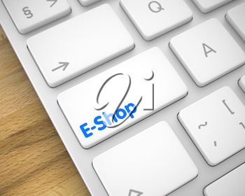 Online Service Concept: E-Shop on Modern Computer Keyboard Background. Online Service Concept with Modern Enter White Button on the Keyboard: E-Shop. 3D.