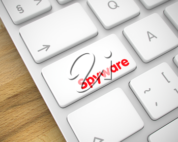 Business Concept: Spyware on the Computer Keyboard Background. White Keyboard Keypad Showing the Message Spyware. Message on Keyboard White Key. 3D Illustration.