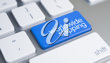 Online Service Concept with Blue Enter Key on the Modern Keyboard: Worldwide Shipping. Business Concept: Worldwide Shipping on the Laptop. 3D Illustration.