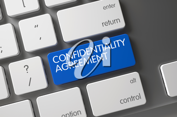Confidentiality Agreement Concept Metallic Keyboard with Confidentiality Agreement on Blue Enter Key Background, Selected Focus. 3D Render.