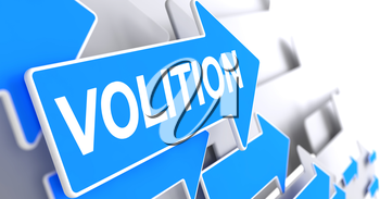 Volition, Label on the Blue Pointer. Volition - Blue Cursor with a Inscription Indicates the Direction of Movement. 3D Render.