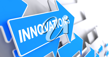 Innovations, Inscription on Blue Pointer. Innovations - Blue Arrow with a Text Indicates the Direction of Movement. 3D Render.