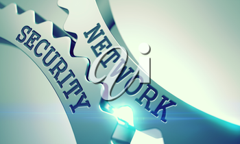Network Security on the Mechanism of Metallic Cog Gears with Lens Flare - Interaction Concept. Inscription Network Security on Shiny Metal Cogwheels - Communication Concept. 3D.
