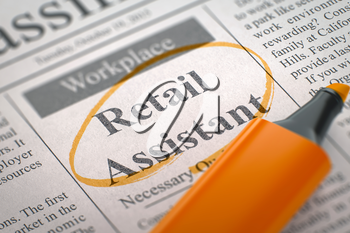 Retail Assistant - Jobs in Newspaper, Circled with a Orange Highlighter. Blurred Image with Selective focus. Job Search Concept. 3D.