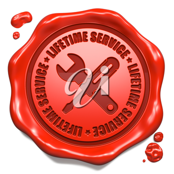 Lifetime Service Slogan with Icon of Crossed Screwdriver and Wrench - Stamp on Red Wax Seal Isolated on White. Business Concept.