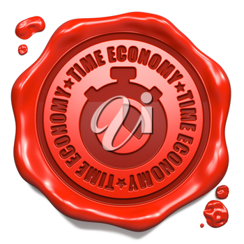 Time Economy Slogan with Stopwatch Icon - Stamp on Red Wax Seal Isolated on White.
