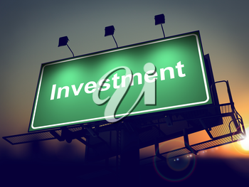 Investment - Green Billboard on the Rising Sun Background.