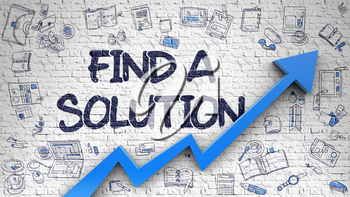 White Brick Wall with Find A Solution Inscription and Blue Arrow. Improvement Concept. Find A Solution Inscription on Modern Line Style Illustation. with Blue Arrow and Doodle Design Icons Around. 3d.