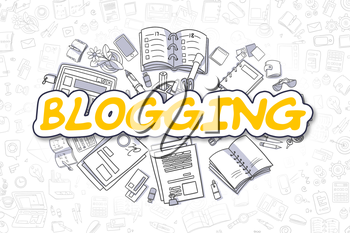Blogging Doodle Illustration of Yellow Text and Stationery Surrounded by Doodle Icons. Business Concept for Web Banners and Printed Materials.