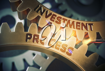 Investment Process on Mechanism of Golden Gears with Glow Effect. Investment Process - Industrial Illustration with Glow Effect and Lens Flare. 3D Rendering.