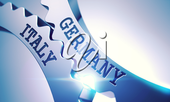 Germany Italy on the Metallic Cog Gears, Communication Illustration with Lens Effect. Germany Italy Metal Gears - Enterprises Concept. with Lens Effect. 3D Render.