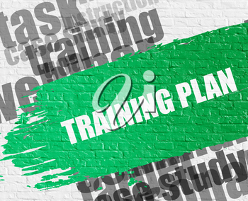 Business Education Concept: Training Plan - on the White Brickwall with Wordcloud Around. Modern Illustration. Training Plan. Green Message on the White Brick Wall.