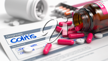 Colitis Phrase in Anamnesis. Close View of Medical Concept. Handwritten Diagnosis Colitis in the Anamnesis. Medicaments Composition of Red Pills, Blister of Pills and Bottle of Tablets. 3D.