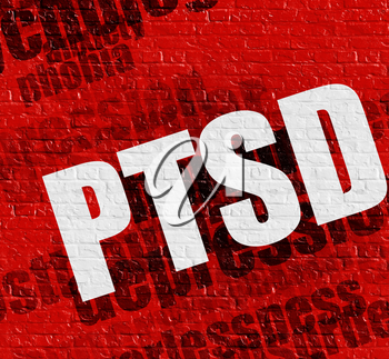 Modern healthcare concept: PTSD - Posttraumatic Stress Disorder on the Red Brickwall . Red Brickwall with PTSD - Posttraumatic Stress Disorder on it .