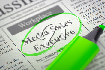 Media Sales Executive. Newspaper with the Small Advertising, Circled with a Green Marker. Blurred Image. Selective focus. Job Search Concept. 3D.
